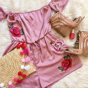 Rose Satin Embroidered Romper